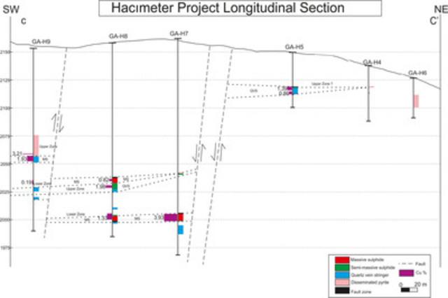 Figure 4 - Oblique Long Section C-C' across the Hacimeter Prospect (CNW Group/Gentor Resources Inc.)