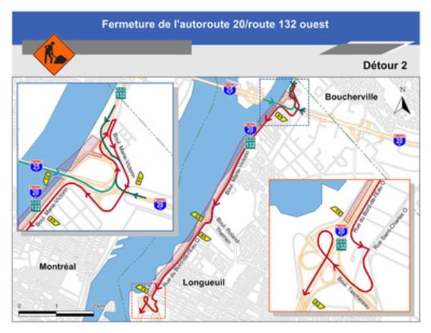 Pour le détour 2 : Carte illustrant le détour 2 pour la fermeture complète de l'autoroute 20 / route 132 ouest. (Groupe CNW/Ministère des Transports)