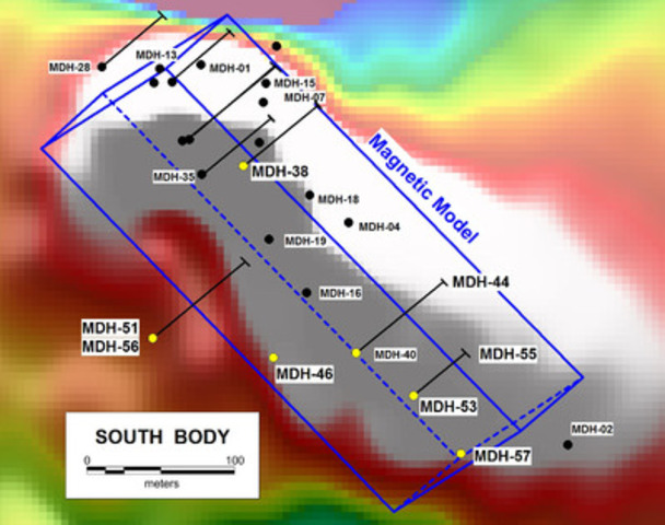Figure 2. Revised magnetic model (blue frame), RTP ground magnetic image and completed and current drill holes on the South Body. Collars of holes reported herein are shown as yellow dots. (CNW Group/RTG Mining Inc.)