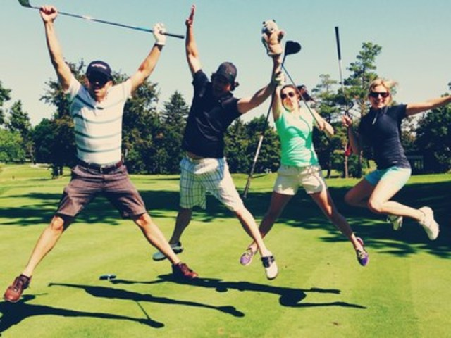 Johnson & Johnson Inc. employees having fun at a recent charity golf event. (CNW Group/Johnson & ...