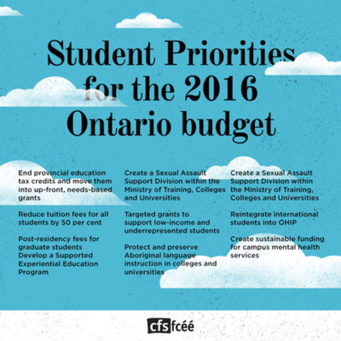 Student budget priorities (CNW Group/Canadian Federation of Students)