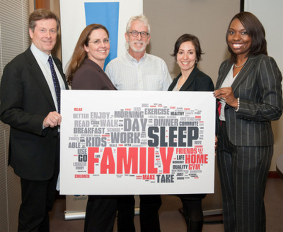 """Holding a word cloud with GTHA resident responses to 'What would you do with 32?' are (from left): CivicAction Chair John Tory; Regional Co-Captain Meg Stokes (Tall Poppies Strategic Consulting); Champions Council member Paul Bedford (Toronto's Former Chief Planner); Regional Co-Captain Caroline Grech (Canadian Automobile Association); and CivicAction CEO Mitzie Hunter."" (CNW Group/CivicAction)"