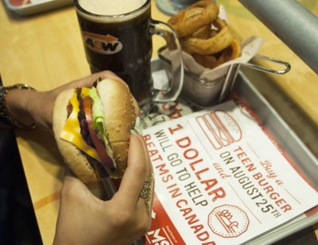 Burgers to Beat MS: Help those living with MS on August 25th by visiting an A&W restaurant and buying a Teen Burger®. $1 from every Teen Burger® sold across Canada that day will be donated to the MS Society of Canada. (CNW Group/A&W Food Services of Canada Inc.)