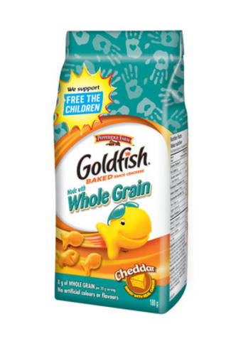 Available on shelves now, specially marked packages of Goldfish Crackers will help drive awareness for Free The Children's anti-bullying initiatives and leadership development programs. (CNW Group/Campbell Company of Canada)