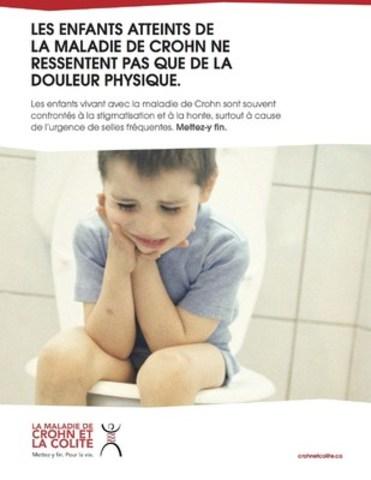 LES ENFANTS ATTEINTS DE LA MALADIE DE CROHN NE RESSENTENT PAS QUE DE LA DOULEUR PHYSIQUE. Ce message d'intérêt public est disponible au téléchargement. (Groupe CNW/Crohn et Colite Canada)