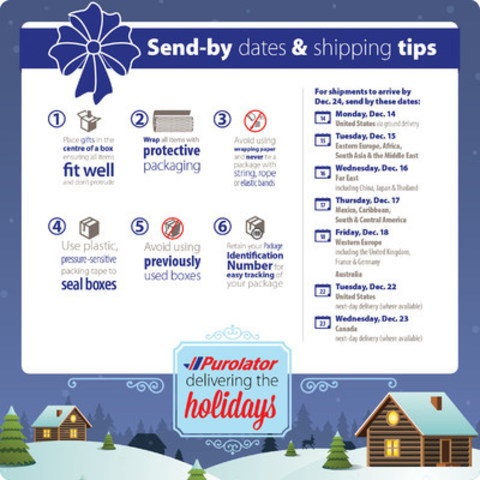 Purolator's holiday send-by dates and shipping tips (CNW Group/Purolator Inc.)