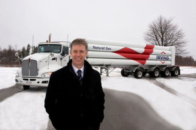 Irving Energy's General Manager Darren Gillis stands before compressed natural gas truck. Irving Oil announced today that it has signed an agreement with McCain Foods, making it Irving Oil's newest natural gas industrial customer, and the first in New Brunswick to receive compressed natural gas (CNG) delivered by trucks. (CNW Group/Irving Oil Operations Ltd.)