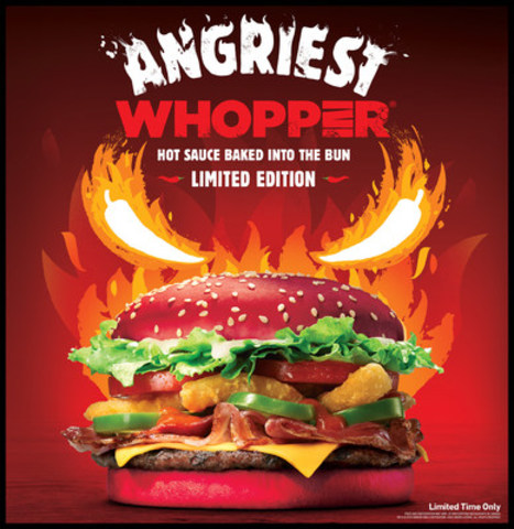 Burger King unveils the Angriest WHOPPER(R) with a flavour-infused red bun (CNW Group/Burger King Canada)