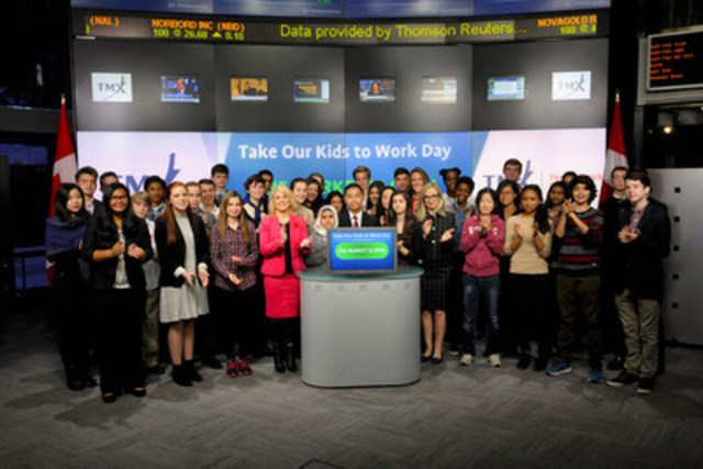 Grade 9 students joined Mary Lou Hukezalie, Senior Vice President, Group Head of Human Resources, TMX Group to open the market to celebrate The Learning Partnership's 21st annual Take Our Kids to Work™ Day. Also joining them were Akela Peoples, President and CEO, The Learning Partnership and Jacquie Ryan, Vice-President of Sponsorships and Partnerships, Scotiabank. The Learning Partnership's signature program, features a day-long job shadowing experience for more than 250,000 students at over 75,000 businesses and organizations across Canada. Sponsored by Scotiabank, the program connects Grade 9 students with the world of work, and offers them the opportunity to explore career options and interests. TMX Group has participated in Take Our Kids to Work Day for the past several years. (CNW Group/TMX Group Limited)