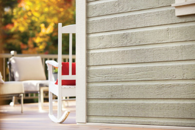 LP CanExel prefinished siding, with its signature wood-grain texture, features beauty, durability and easy maintenance. It comes in three styles and 21 colours and is available throughout Canada (CNW Group/LP CanExel)