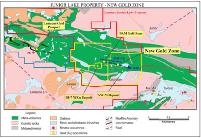 Junior Lake Property - New Gold Zone (CNW Group/Landore Resources Limited)
