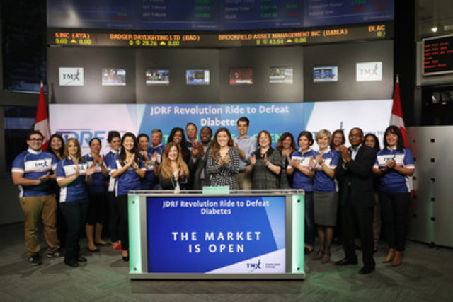 Participants from JDRF Revolution Ride to Defeat Diabetes joined Scott Ainslie, Senior Manager, Compliance & Disclosure, Toronto Stock Exchange to open the market to raise awareness of the 2016 JDRF Ride. Presented by Sun Life and sponsored by Abbott Canada, the JDRF Revolution Ride is a stationary bike-a-thon which takes place on Friday, September 30 at Yonge-Dundas Square. This fall, over 5,000 'Revolutionaries' will team up to help raise funds to find a cure for type 1 diabetes. For more information, please visit http://www.jdrf.ca/ (CNW Group/TMX Group Limited)