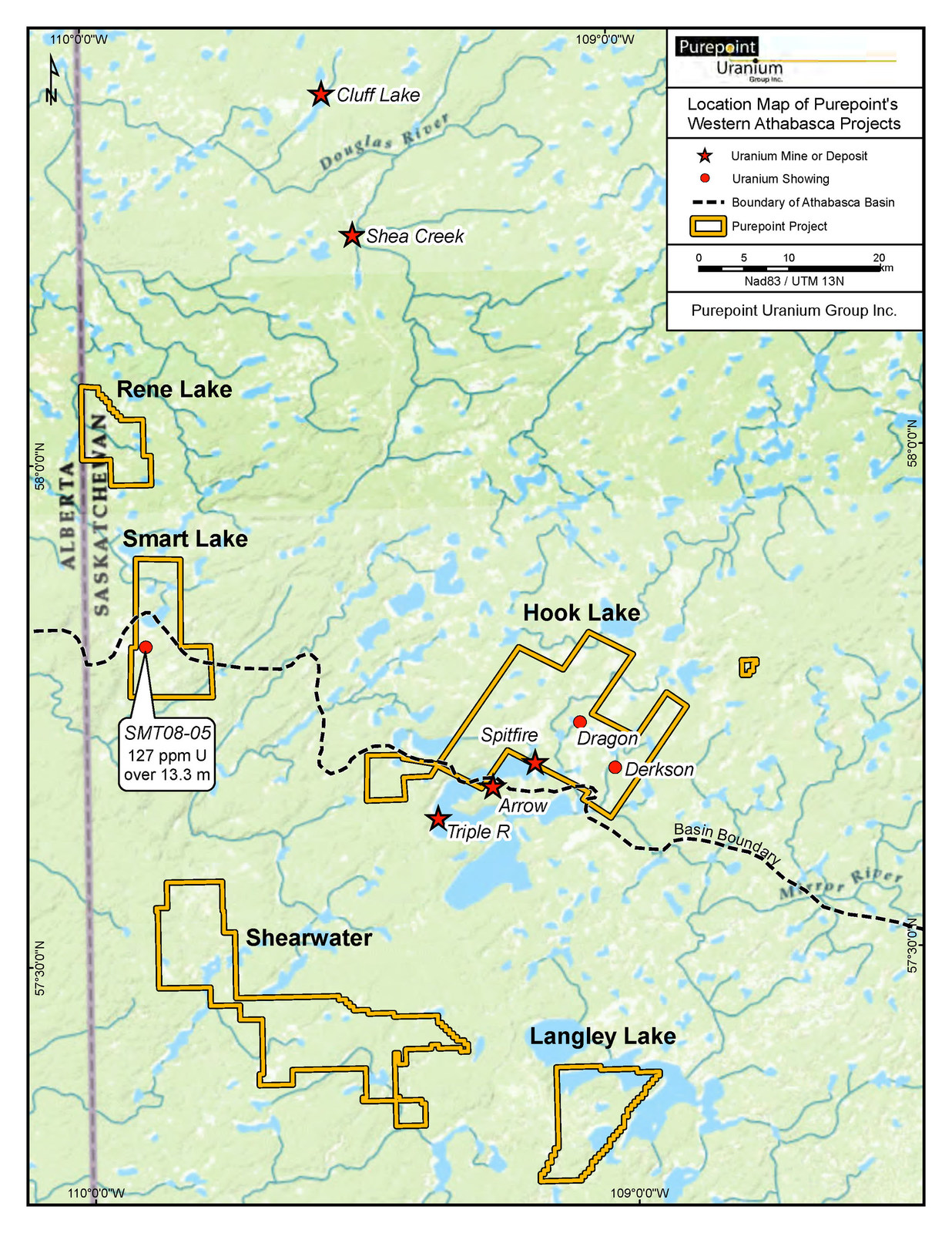 Location Map of Purepoint's Western Athabasca Projects