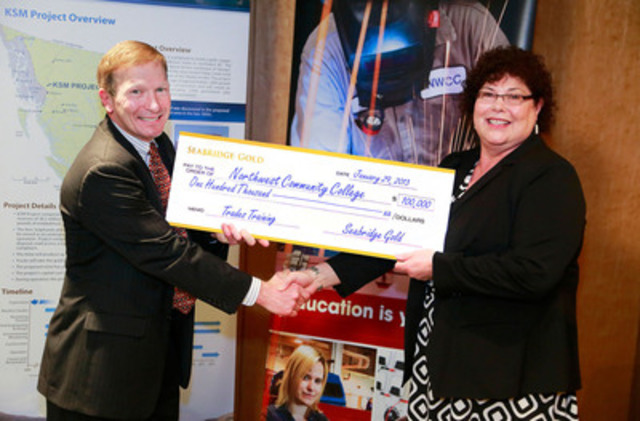 (left to right) Jay Layman, Director, President and Chief Operating Officer, Seabridge Gold, presents a $100,000 donation to Dr. Denise Henning, President and CEO of Northwest Community College. - Photographer Jeff Vinnick (CNW Group/Seabridge Gold Inc.)