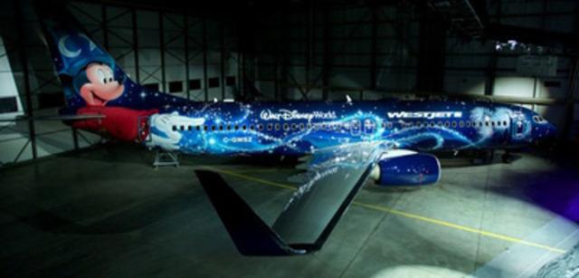 WestJet, Vacances WestJet et Walt Disney Parks & Resorts (Canada) ont dévoilé aujourd'hui un appareil Boeing 737-800 de nouvelle génération arborant une peinture personnalisée dont Mickey dans son personnage d'apprenti sorcier est la vedette. Cet « avion magique » desservira les 88 destinations dans 18 pays faisant partie du réseau intérieur, transfrontalier et international de WestJet. (Groupe CNW/WestJet)