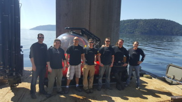 The Aquatica Team – From left to right – Gary Hancock, Peter Gross, Harvey Flemming, Jonathan Fether, Will McNea, Crosland Seville, and Michel Harvey (CNW Group/Aquatica Submarines)