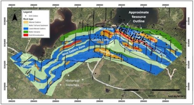 Exhibit B - Figure 2.  A geological map of the Stog'er Tight area showing the approximate outline of the Stog'er Tight mineral resource and other prospects in the immediate area of the deposit.  The black ellipses indicate areas that will be trenched as part of the fall exploration program. (CNW Group/Anaconda Mining Inc.)