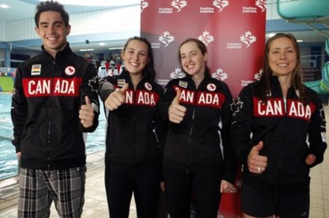 Le sensationnel adolescent installé à Calgary Stefan Daniel participera dans la catégorie masculine PT4; Chantal Givens, de Winnipeg, nagera, fera du vélo et courra dans la catégorie féminine PT4; tandis que Christine Robbins et sa guide, Sasha Boulton, d'Ottawa, viseront une médaille dans la catégorie féminine PT5 pour les athlètes ayant de la déficience visuelle. (de gauche à droite: Daniel, Boulton, Robbins, Givens) (Groupe CNW/Comité paralympique canadien (CPC))