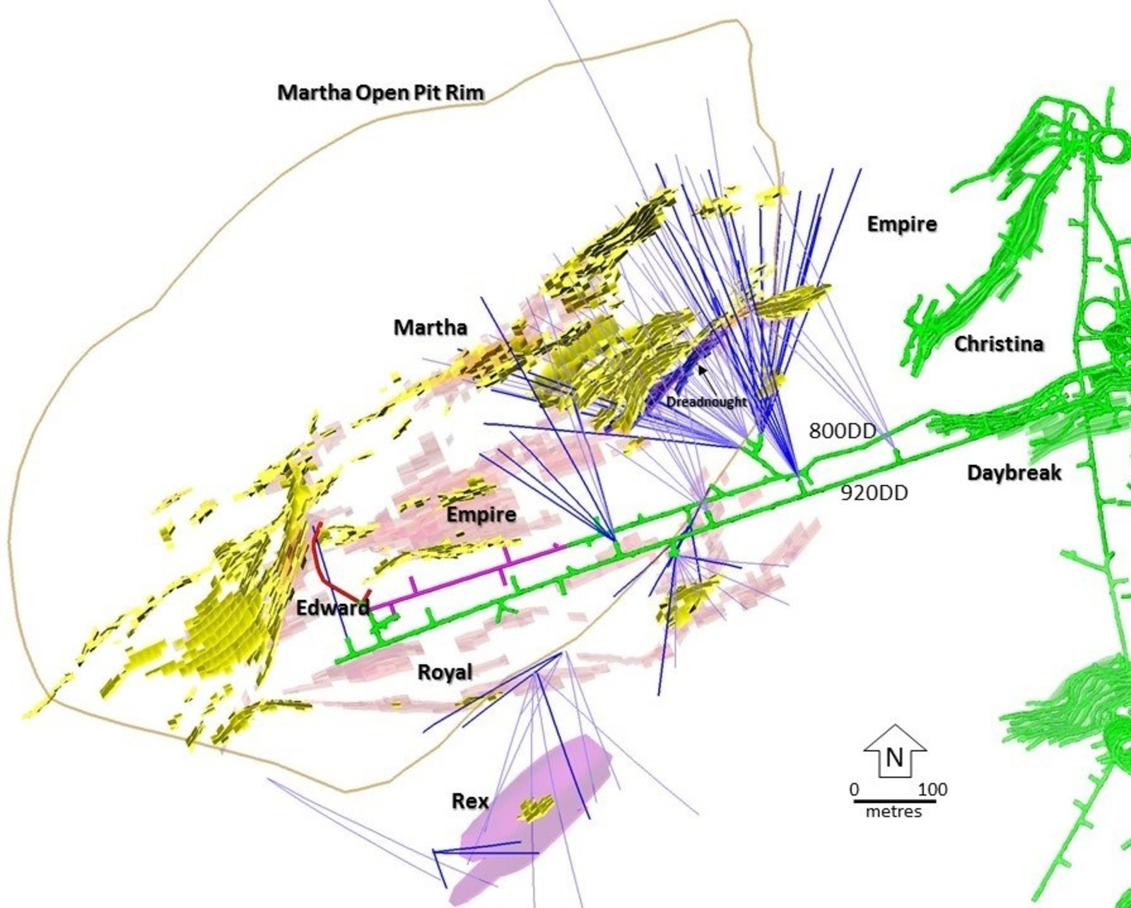 Figure 2 – Plan View showing drill holes within the Martha vein system and the dominant targeted veins as well as the new Dreadnought vein. Pink = Main Target Areas, Yellow = Current Martha Underground Resource Areas, Green = Recent and Current Mining Areas.