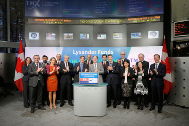 Richard Usher-Jones, President, Lysander Funds joined Amelia Nedovich, Head, Business Development, Exchange Traded Funds and Structured Products, TMX Group to open the market to launch Lysander-Slater Preferred Share ActivETF (PR). Established in 2009, Lysander Funds is an affiliate of Canso Investment Counsel and offers a number of prospectused qualified funds including open-ended funds, closed end funds and an exchange traded fund. PR commenced trading on Toronto Stock Exchange on August 18, 2015. For more information please contact www.lysanderfunds.com/ (CNW Group/Toronto Stock Exchange)
