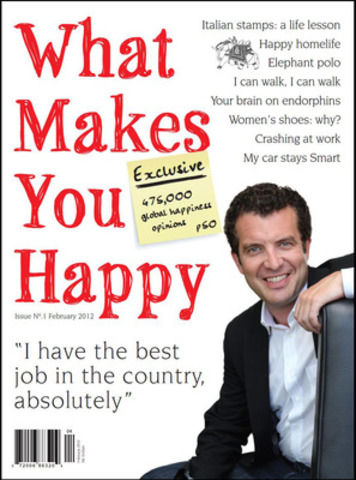 Happiness on your doorstep. New Canadian magazine, What Makes You Happy, filled with information and articles touching on all things happy, will be in the Globe & Mail, Friday, February 10th. Gives Readers What They Can't Find - HAPPY READING. Exclusive: Ipsos global survey tracks happiness in 24 countries over 5 years, Rick Mercer claims to be more conservative than the PM. (CNW Group/What Makes You Happy Magazine)