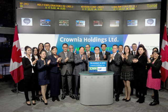 Xizhou Tong, Chairman & President, Crownia Holdings Ltd. (CNH) joined Tim Babcock, Director, Listed Issuer Services, TSX Venture Exchange to open the market. Crownia, through its wholly owned subsidiary Jinsili International Steel Holdings, Co., Ltd., is a global specialty steel trader and distributor, which sells specialty steel products by the integration of Chinese strategic steel suppliers and global steel customers. Crownia Holdings Ltd. commenced trading on TSX Venture Exchange on September 19, 2015. For more information please visit www.crowniaholdings.com. (CNW Group/TMX Group Limited)