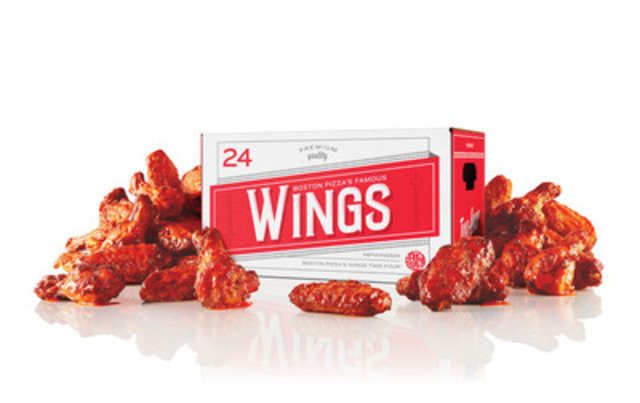 Boston Pizza introduces the first-ever Wings Two-Four on April 1st. The Wings Two-Four is inspired by classic beer case design and holds 24 chicken wings. The Wings Two-Four is ideal for sharing around the playoffs or just about any time. (CNW Group/Boston Pizza International Inc.)