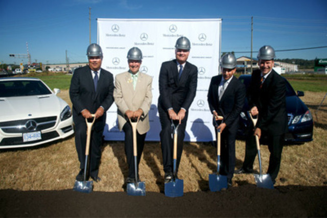 Hannu Ylanko, Vice President, National Sales, Mercedes-Benz Canada, The Honourable Peter Fassbender, Langley City Mayor, Tim A. Reuss, President and CEO of Mercedes-Benz Canada, Ajay Dilawri, President of the Dilawri Group of Companies, and Christian Dubois, Regional Director of Operations, Dilawri Group of Companies, gathered today to celebrate the official start of construction of Langley Mercedes-Benz. (CNW Group/Mercedes-Benz Canada Inc.)