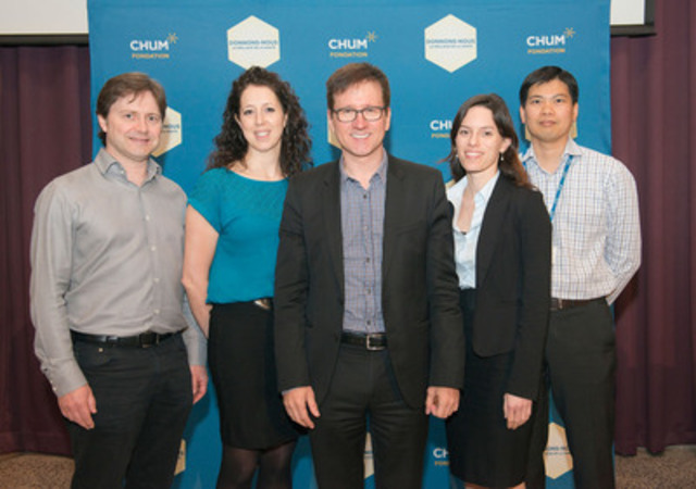 Dr. Alain Bouthillier (center) in company of members of CHUM's Epilepsy Group : Dr. Patrick Cossette, Nancy Lévesque, Dr. Arline-Aude Bérubé and Dr. Dang K. Nguyen. (CNW Group/Fondation du CHUM)