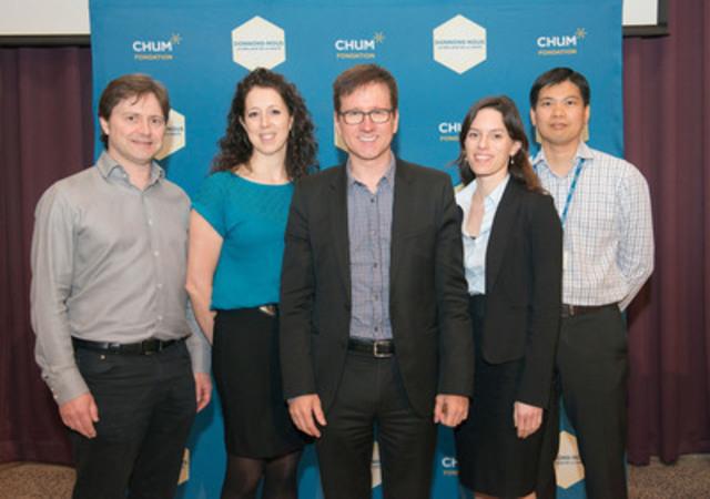 Dr. Alain Bouthillier (center) in company of members of CHUM's Epilepsy Group : Dr. Patrick Cossette, Nancy Lévesque, Dr. Arline-Aude Bérubé and Dr. Dang K. Nguyen. (CNW Group/Fondation du CHUM)