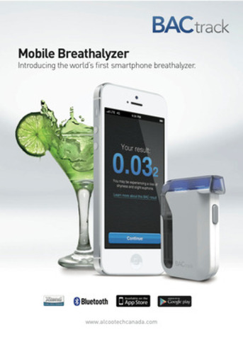 BACtrack Mobile Breathalyzer, the first alcohol-monitoring device to combine professional grade fuel cell sensor technology, Bluetooth connectivity, and app-enabled features. BACtrack Mobile allows users to quickly estimate their Blood Alcohol Content, track, share, and understand results. With the ZeroLine™ feature, users can estimate when their BAC will return to 0.000. (CNW Group/Alcootech Canada )
