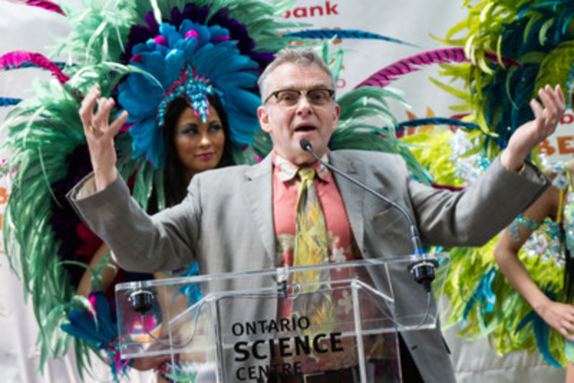 Dr. Hooley McLaughlin, Chief Science Officer, Ontario Science Centre, makes the connection between science and the Scotiabank Toronto Caribbean Carnival, proving science can be found everywhere, including the extravagant costumes made by the mas' camps. For the fifth consecutive year, the Ontario Science Centre Innovation in Mas' Award will be awarded at King and Queen Competition and Show to recognize innovation, art and scientific merit in costume design. (CNW Group/Ontario Science Centre)