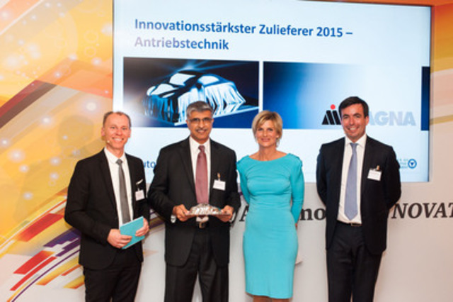 """From left to right: CAM-Director Prof. Dr. Stefan Bratzel; Magna Chief Technical Officer Swamy Kotagiri; Barbara Hahlweg, news anchor for """"ZDF Heute""""; and Felix Kuhnert, Partner and Head of Automotive at PwC Germany & Europe. (CNW Group/Magna International Inc.)"""