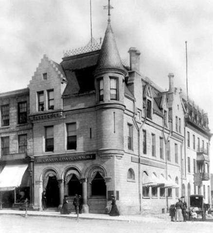 Le centre bancaire de St George de la Banque canadienne de commerce (maintenant CIBC) vers 1890. Photo ...