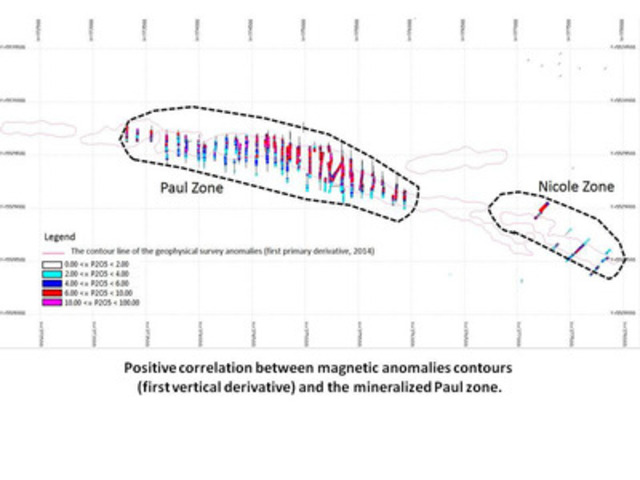 Positive correlation between magnetic anomalies contours (first vertical derivative) and the mineralized Paul zone. (CNW Group/Arianne Phosphate Inc.)