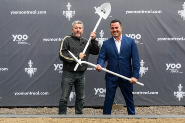 Philippe Starck and Maxime Lachance at the groundbreaking ceremony of YOO Montreal. (CNW Group/YOO Montreal)