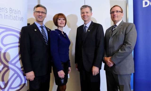 Pictured from left to right: The Honourable Dave Rodney, Assistant Minister of Wellness, Lynn Posluns, WBHI Founder and President, Dr. Mark Poulin, Hotchkiss Brain Institute - University of Calgary, and Paul Leroux, Partner, Global R&D and Government, Deloitte. (CNW Group/Women's Brain Health Initiative (WBHI))