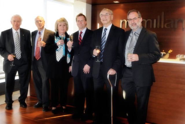 Pictured above (from Left): Manuel Shacter, Max Mendelsohn, Judie Jokinen, Charles Chevrette, Leo Rosentzveig, David L. Rosentzveig. (CNW Group/McMillan LLP)