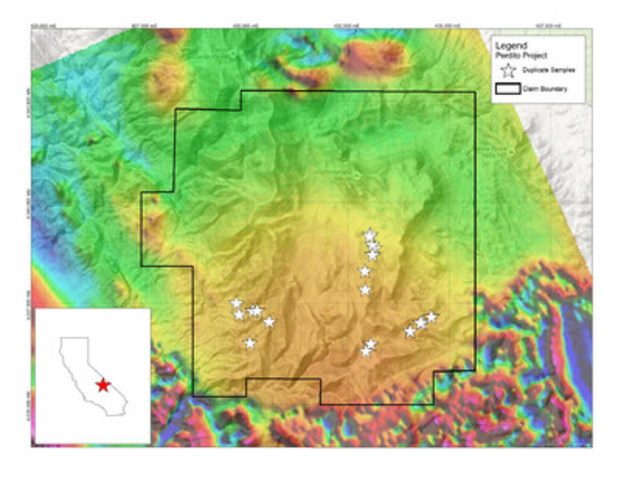 Figure 1. Location of duplicate samples taken by Silver Standard at the Perdito project, Inyo County, California, underlain by the total magnetic airborne geophysical survey. (CNW Group/Silver Standard Resources Inc.)