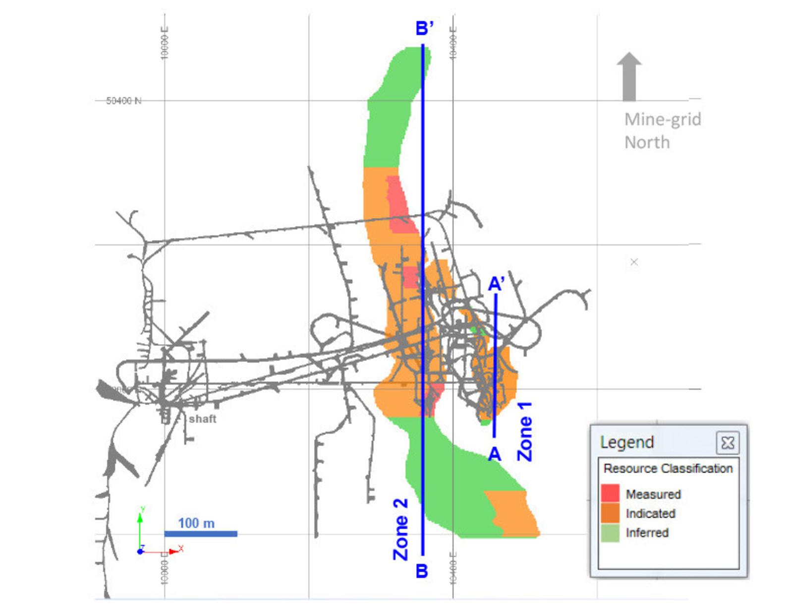 Diagram 1: 2018 Mineral Resource Estimate at 3.0 g/t Au Cut-off Grade – Plan View 305-metre level