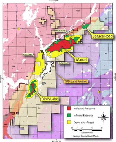 Figure 1 - Map of Twin Metals Minnesota Indicated Resources, Inferred Resources, and Exploration Target Areas. (CNW Group/Duluth Metals Limited)