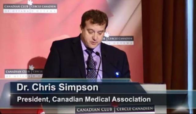 Video: Address given by Dr. Christopher Simpson, President of the Canadian Medical Association at the Canadian Club of Ottawa, Nov. 18, 2014 on seniors care - Part 1