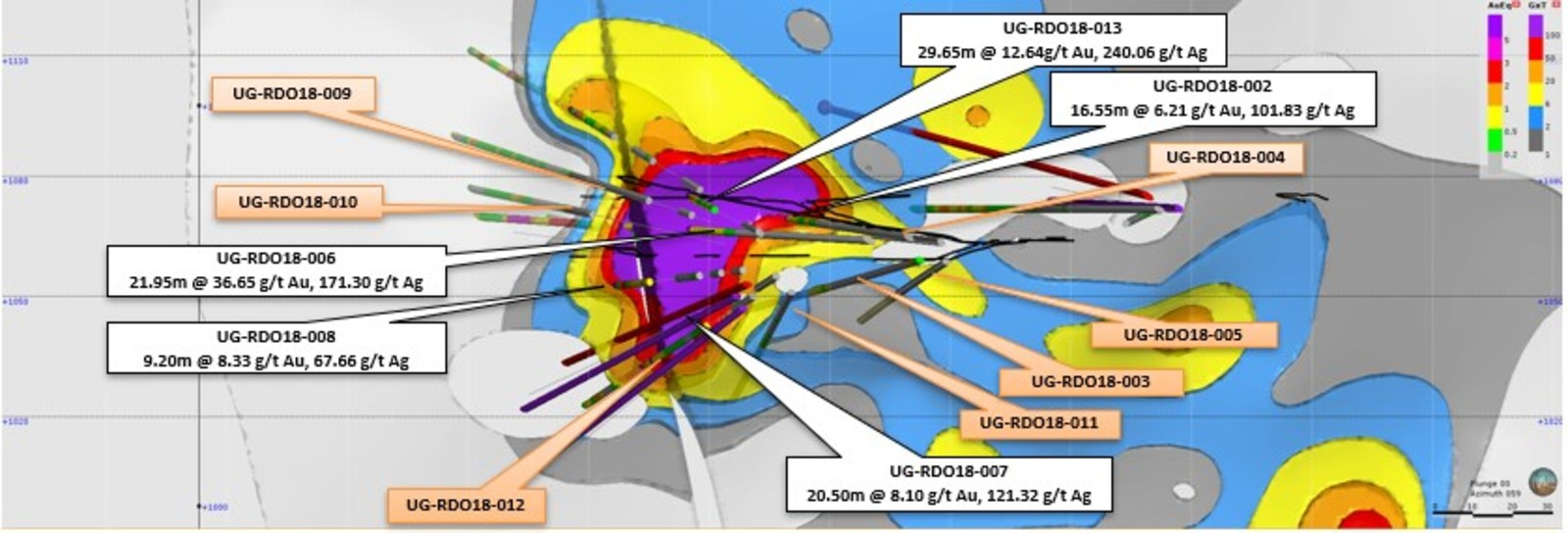 Figure 1 – Longitudinal Section Looking NE - Rey de Oro Offset vein target & grade x thickness map