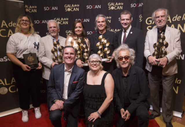 Some of the 27th annual SOCAN Montreal Awards winners (from left to right, top row): Safia Nolin (Breakout Awards), Alain Chartrand (Special Achievement Award), Ariane Moffatt (Songwriter of the Year), Richard Séguin (Lifetime Achievement Award), Luc Fortin, Québec's Minister Culture & Communications, Stéphane Venne (Cultural Impact Award); (from left to right, second row) SOCAN's Chief Executive Officer Eric Baptiste, Geneviève Côté, SOCAN's Chief Quebec Affairs Officer, Luc Plamondon (two SOCAN Classics) (Photo: Frédérique Ménard-Aubin-SOCAN) (CNW Group/SOCAN)