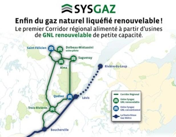 Le Corridor régional du Saguenay-Lac-Saint-Jean - Le tout premier réseau de gaz naturel liquéfié renouvelable alimenté à partir d'usines de petite capacité. (Groupe CNW/Sysgaz Inc.)