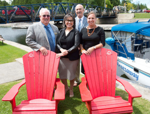 The Minister of the Environment, the Honourable Leona Aglukkaq tours the Brighton Road Swing Bridge at Murray Canal in Quinte West, which is part of the Trent-Severn Waterway National Historic Site, after announcing more than $285 million in investments for the site. From left to right: Mayor Jim Harrrison, City of Quinte West, Minister Aglukkaq, Mr. Rick Norlock, MP for Northumberland-Quinte West, Mrs. Sara Anghel, Executive Director and Vice President of Government Relations, National Marine Manufacturers Association Canada (CNW Group/Government of Canada)