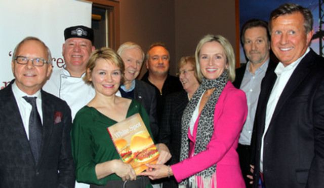 Friends of White Spot celebrate the launch of The White Spot Cookbook in Vancouver on November 18th. Until December 31st, partial proceeds from every book sold at White Spot Restaurants will benefit Variety - The Children's Charity. Front row: John Bishop, Bishop's Restaurant; Kerry Gold, author; Bernice Scholten, Variety; Warren Erhart, White Spot President. Back row: Chuck Currie, White Spot Executive Chef; Red Robinson, broadcaster; the Toigo family, White Spot owners. (CNW Group/White Spot)