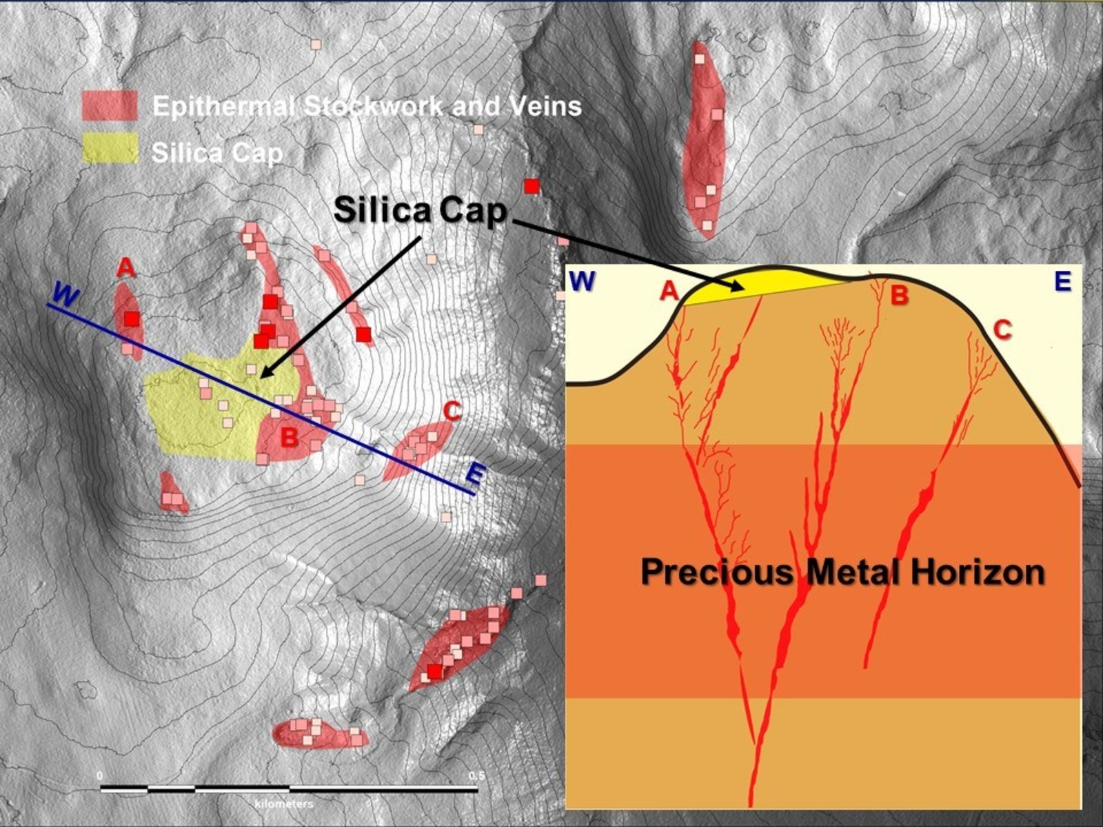 Map of the discovery area of the Highway Zone at Shot Rock showing relative position of the newly identified Silica Cap to zones of quartz veining. Inset: Model cross- section of the discovery area.