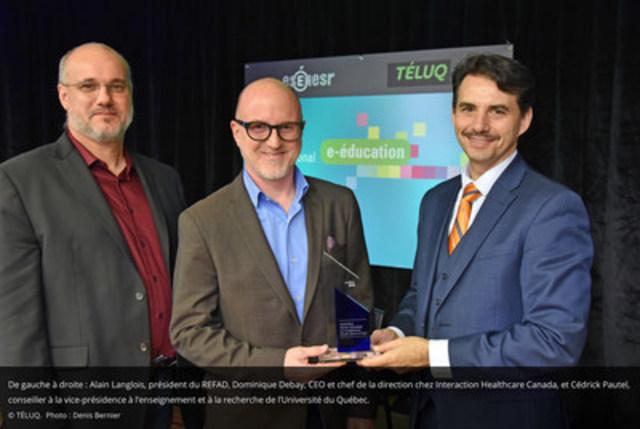 De gauche à droite, Alain Langlois, président du REFAD, Dominique Debay, CEO et chef de la direction chez Interaction Healthcare Canada, et Cédrick Pautel, conseiller à la vice-présidence à l'enseignement et à la recherche de l'Université du Québec (Groupe CNW/TÉLUQ)