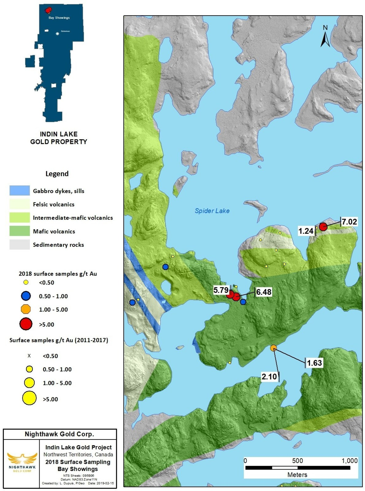 Figure 6. Bay Showings Location Map and Select Surface Sample Results